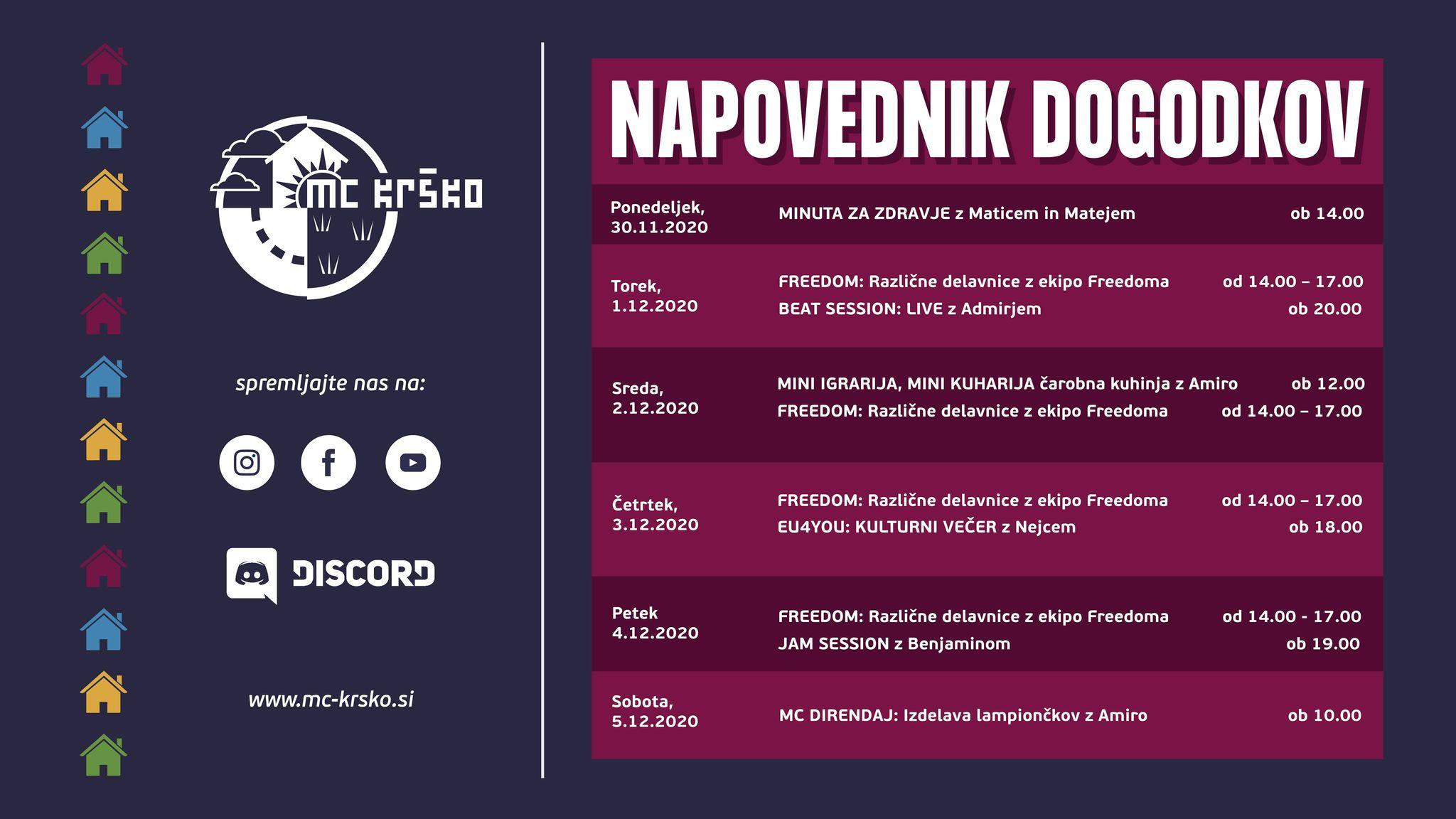 Napovednik dogodkov MC Krško 30.11.-5.12.2020