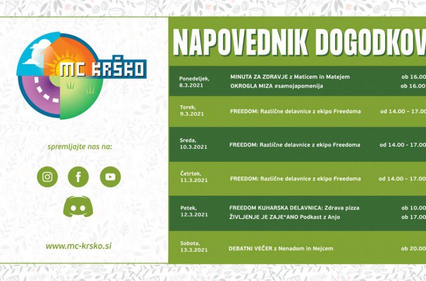 Dogodki v Mladinskem centru Krško od 8. do 13.3.2021