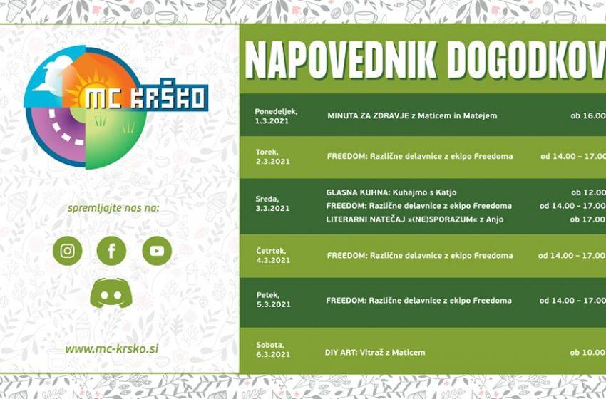 Napovednik dogodkov v MC Krško od 1.3. do 6.3.2021